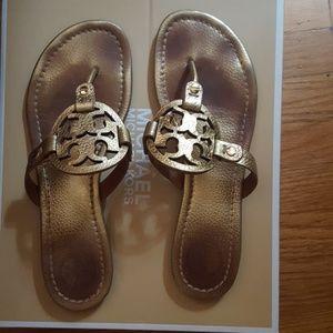 Gold Tory Burch 8.5 Gold millet sandals